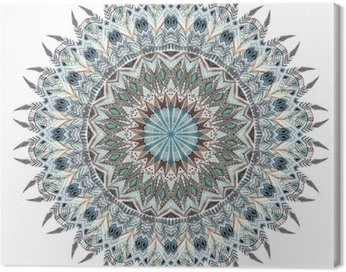 Canvas Print Watercolor abstract mandala with stylized feathers
