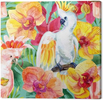 watercolor Australian Cockatoo seamless pattern Canvas Print