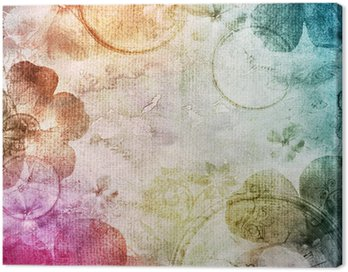 Canvas Print watercolor background with flowers