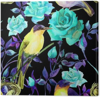 Watercolor birds on the blue roses Canvas Print