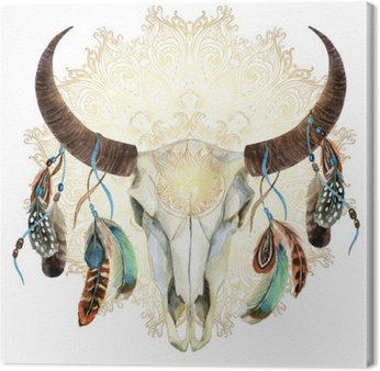 Canvas Print watercolor cow skull with feathers