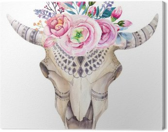 Watercolor cow skull with flowers and feathers decoration. Boho