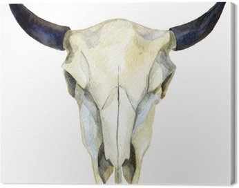 watercolor cow skull
