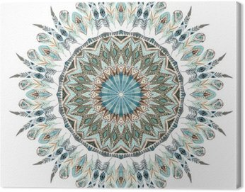 Watercolor ethnic feathers abstract mandala.