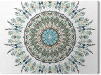 Canvas Print Watercolor ethnic feathers abstract mandala.