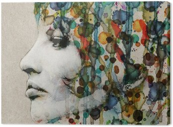 Watercolor female profile Canvas Print