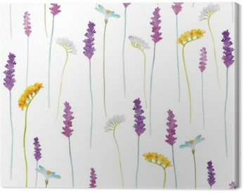 Canvas Print Watercolor flowers pattern.