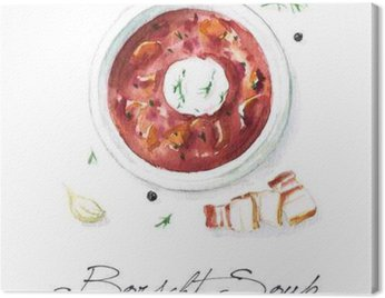 Watercolor Food Painting - Borscht Soup