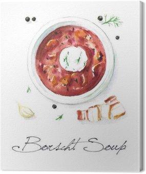Canvas Print Watercolor Food Painting - Borscht Soup