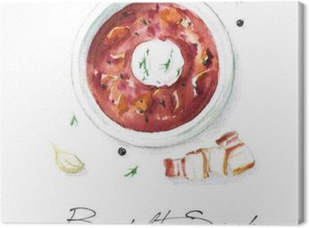 Canvas Print Watercolor Food Painting - Borscht Soup