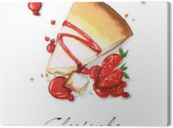Canvas Print Watercolor Food Painting - Cheesecake