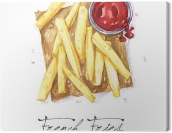 Canvas Print Watercolor Food Painting - French Fries
