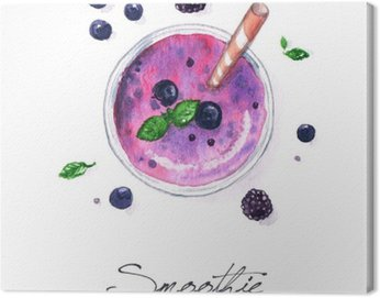 Canvas Print Watercolor Food Painting - Smoothie