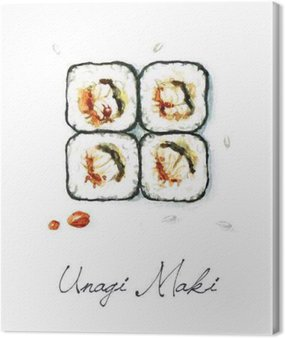 Canvas Print Watercolor Food Painting - Unagi Maki