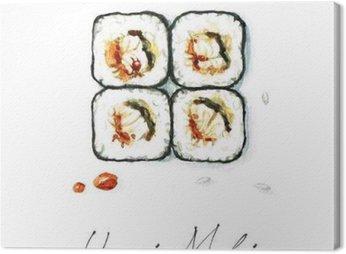 Watercolor Food Painting - Unagi Maki Canvas Print