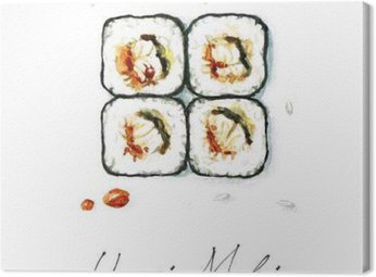 Canvas Print Watercolor Food Painting - Unagi Maki