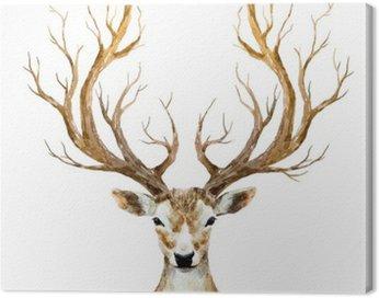 Canvas Print Watercolor hand drawn deer