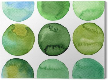 Watercolor hand painted circles collection Canvas Print