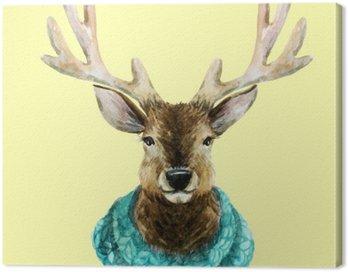 Canvas Print Watercolor handsome deer