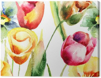 Canvas Print Watercolor illustration of Tulips flowers