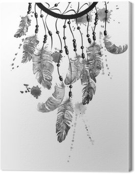 Canvas Print Watercolor illustration with dreamcatcher.