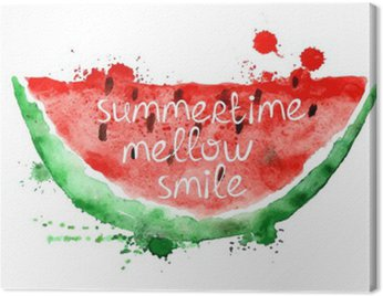 Watercolor illustration with slice of watermelon.
