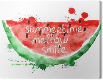 Canvas Print Watercolor illustration with slice of watermelon.