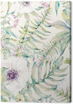 Watercolor leaf seamless pattern with ferns and flowers Canvas Print