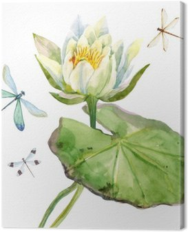 Canvas Print Watercolor lotus flower
