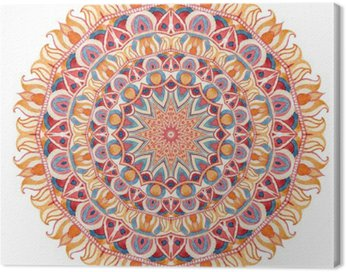 Canvas Print Watercolor mandala with sacred geometry. Ornate lace isolated on white background.