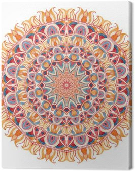 Watercolor mandala with sacred geometry. Ornate lace isolated on white background.