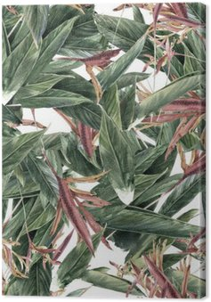 Watercolor painting of leaf and flowers, seamless pattern Canvas Print