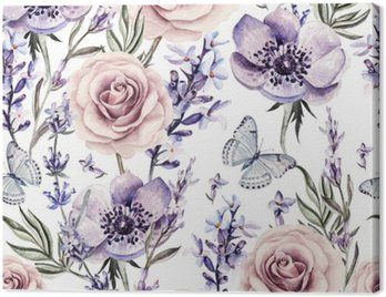 Watercolor pattern with the colors of lavender, roses and anemone.