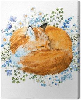 Canvas Print Watercolor sleeping fox