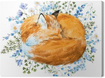 Watercolor sleeping fox