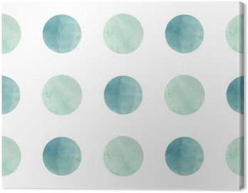 Canvas Print Watercolor texture. Seamless pattern. Watercolor circles in pastel colors on white background. Pastel colors and romantic delicate design. Polka Dot Pattern. Fresh and Mint Colors.