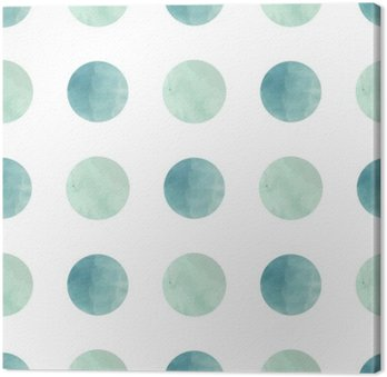 Watercolor texture. Seamless pattern. Watercolor circles in pastel colors on white background. Pastel colors and romantic delicate design. Polka Dot Pattern. Fresh and Mint Colors. Canvas Print
