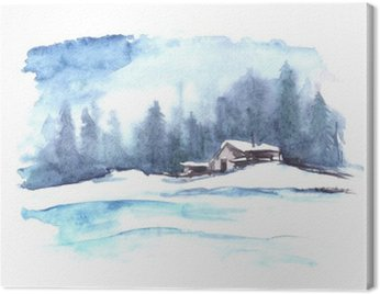 Watercolor winter pattern. Country landscape. The picture shows a house, spruce, pine, forest, snow and drifts. Canvas Print