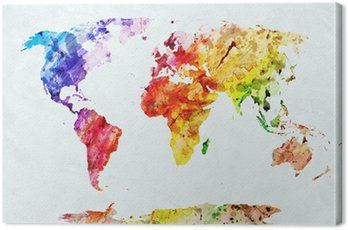 Canvas Print Watercolor world map