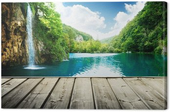 waterfall in deep forest of croatia and wood pier Canvas Print