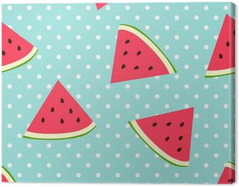 Watermelon seamless pattern with polka dots
