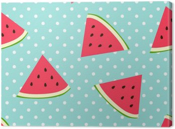 Canvas Print Watermelon seamless pattern with polka dots