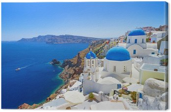 Canvas Print White architecture of Oia village on Santorini island, Greece