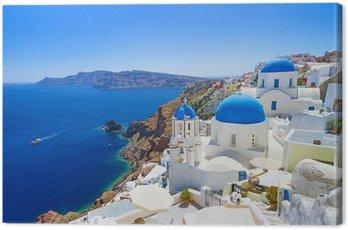 White architecture of Oia village on Santorini island, Greece Canvas Print