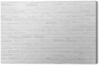 White grunge brick wall texture background Canvas Print