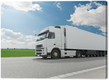 Canvas Print white lorry with trailer over blue sky