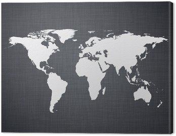Canvas Print White world map.