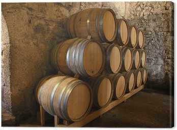 Canvas Print Wine barrels in a old wine cellar
