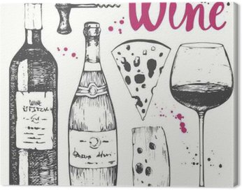 Canvas Print Wine set. Winemaking products in sketch style.