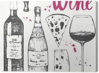 Wine set. Winemaking products in sketch style.